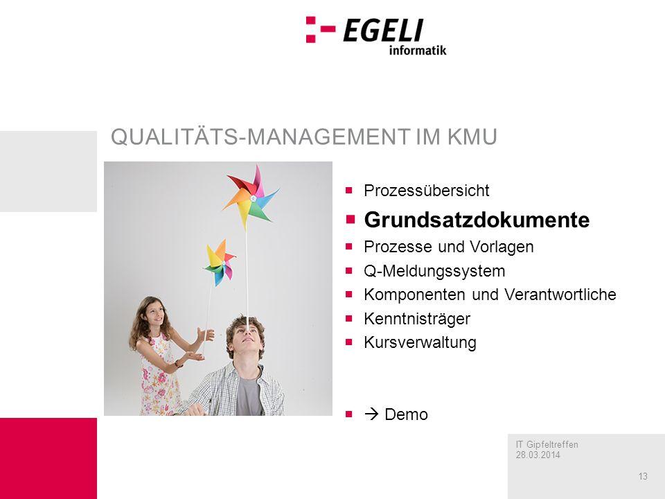 IT Gipfeltreffen 28.03.2014 13 QUALITÄTS-MANAGEMENT IM KMU Prozessübersicht Grundsatzdokumente Prozesse und Vorlagen Q-Meldungssystem Komponenten und