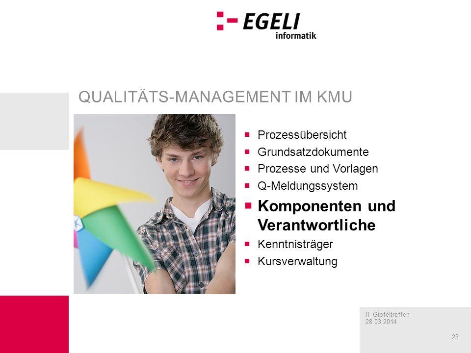 IT Gipfeltreffen 28.03.2014 23 QUALITÄTS-MANAGEMENT IM KMU Prozessübersicht Grundsatzdokumente Prozesse und Vorlagen Q-Meldungssystem Komponenten und