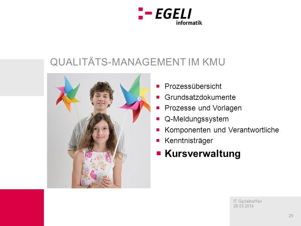 IT Gipfeltreffen 28.03.2014 29 QUALITÄTS-MANAGEMENT IM KMU Prozessübersicht Grundsatzdokumente Prozesse und Vorlagen Q-Meldungssystem Komponenten und