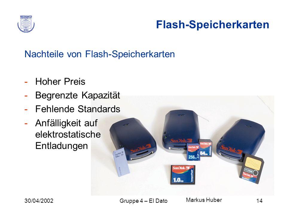 30/04/2002Gruppe 4 – El Dato14 Flash-Speicherkarten Nachteile von Flash-Speicherkarten -Hoher Preis -Begrenzte Kapazität -Fehlende Standards -Anfällig