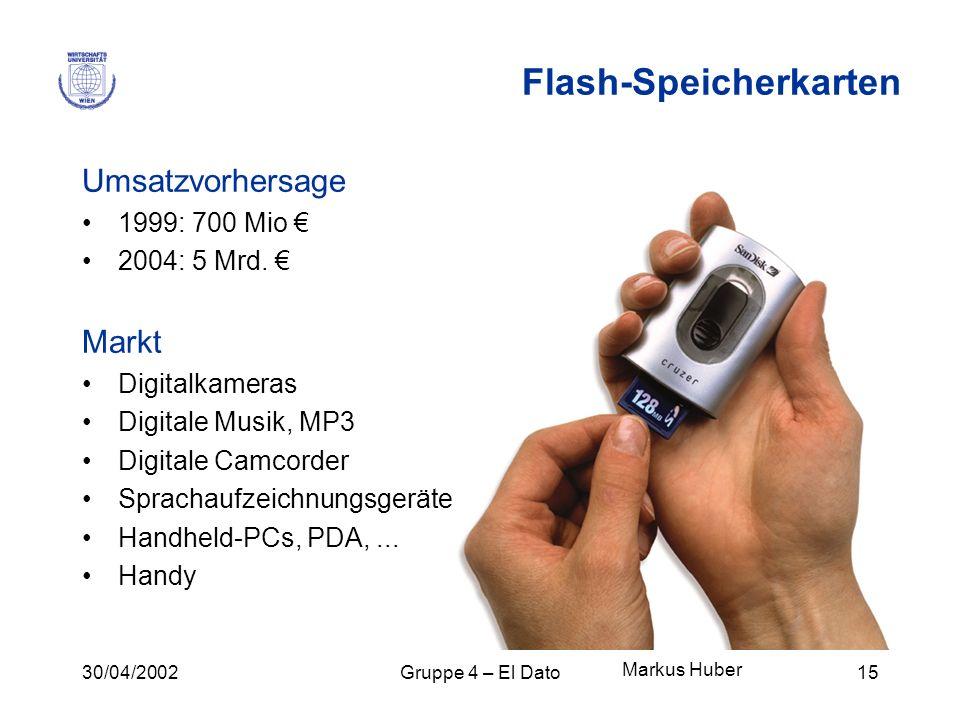 30/04/2002Gruppe 4 – El Dato15 Flash-Speicherkarten Umsatzvorhersage 1999: 700 Mio 2004: 5 Mrd. Markt Digitalkameras Digitale Musik, MP3 Digitale Camc