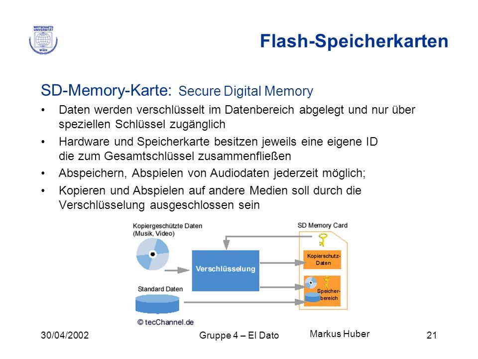 30/04/2002Gruppe 4 – El Dato21 Flash-Speicherkarten SD-Memory-Karte: Secure Digital Memory Daten werden verschlüsselt im Datenbereich abgelegt und nur