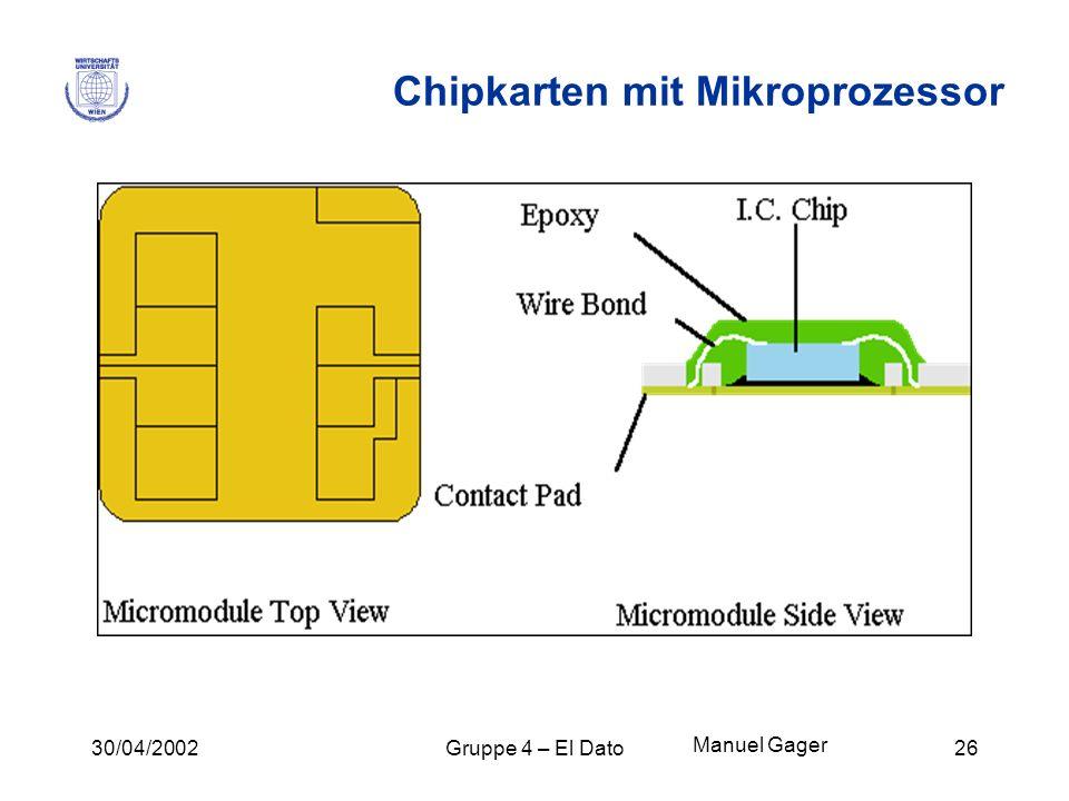 30/04/2002Gruppe 4 – El Dato26 Chipkarten mit Mikroprozessor Manuel Gager