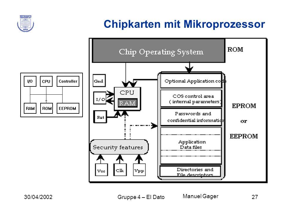 30/04/2002Gruppe 4 – El Dato27 Chipkarten mit Mikroprozessor Manuel Gager