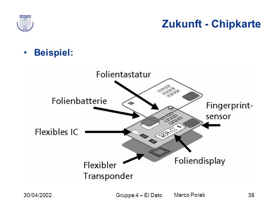 30/04/2002Gruppe 4 – El Dato38 Zukunft - Chipkarte Beispiel: Marco Porak