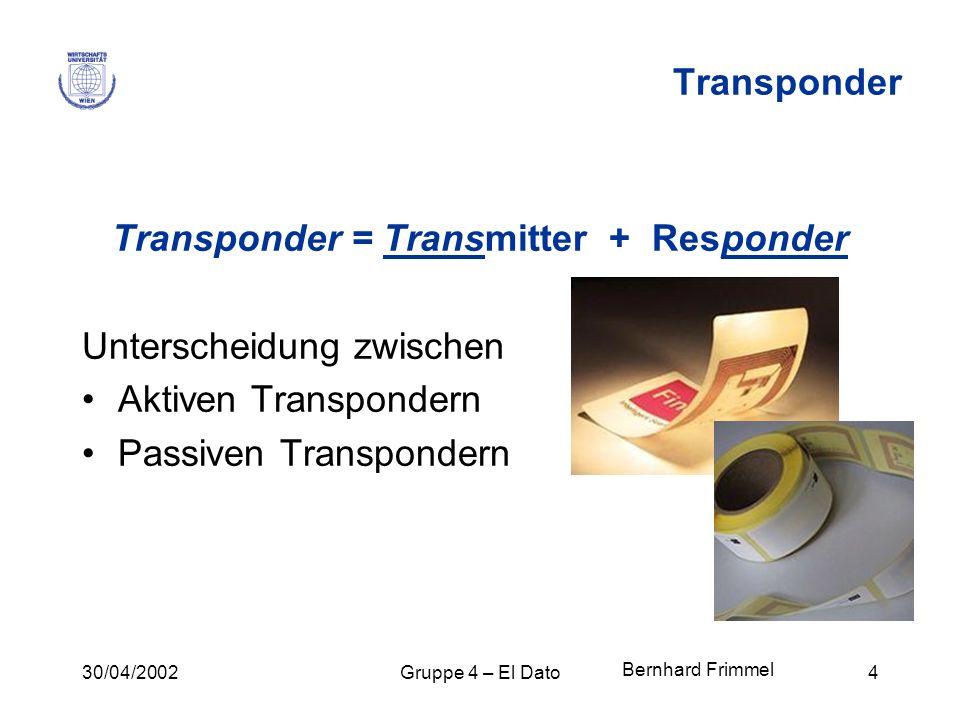 30/04/2002Gruppe 4 – El Dato4 Transponder Transponder = Transmitter + Responder Unterscheidung zwischen Aktiven Transpondern Passiven Transpondern Ber