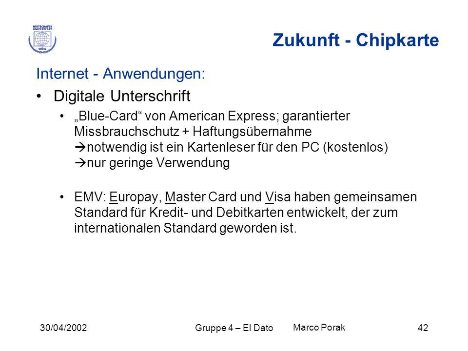 30/04/2002Gruppe 4 – El Dato42 Zukunft - Chipkarte Internet - Anwendungen: Digitale Unterschrift Blue-Card von American Express; garantierter Missbrau