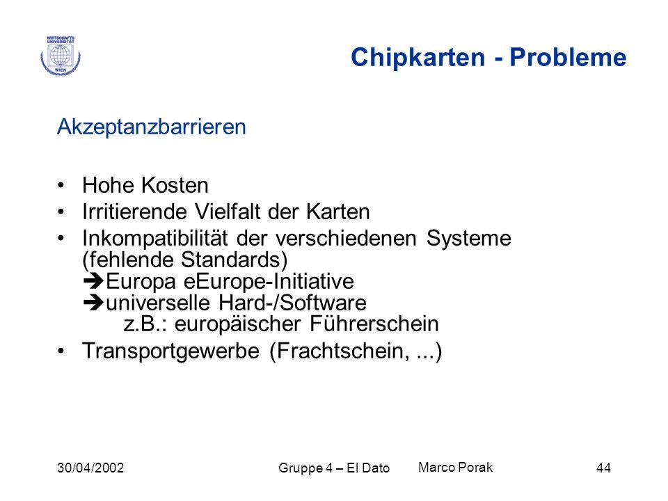 30/04/2002Gruppe 4 – El Dato44 Akzeptanzbarrieren Hohe Kosten Irritierende Vielfalt der Karten Inkompatibilität der verschiedenen Systeme (fehlende St
