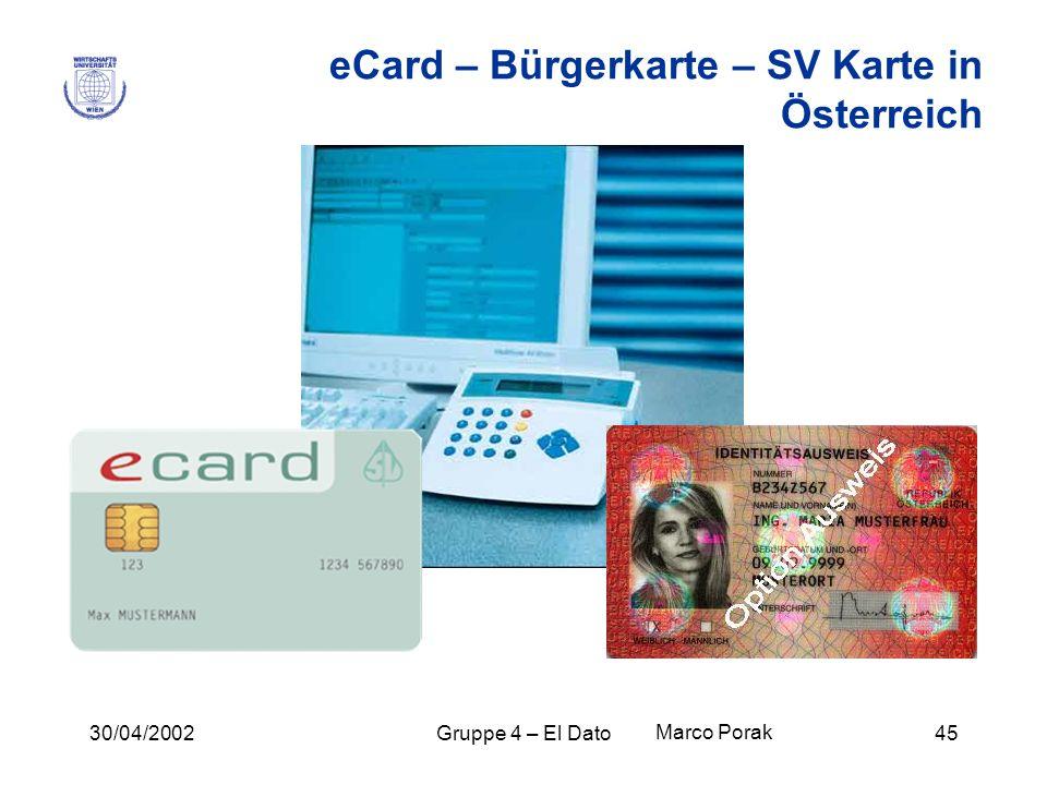 30/04/2002Gruppe 4 – El Dato45 eCard – Bürgerkarte – SV Karte in Österreich Marco Porak