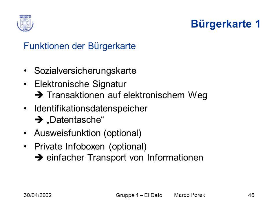 30/04/2002Gruppe 4 – El Dato46 Bürgerkarte 1 Funktionen der Bürgerkarte Sozialversicherungskarte Elektronische Signatur Transaktionen auf elektronisch