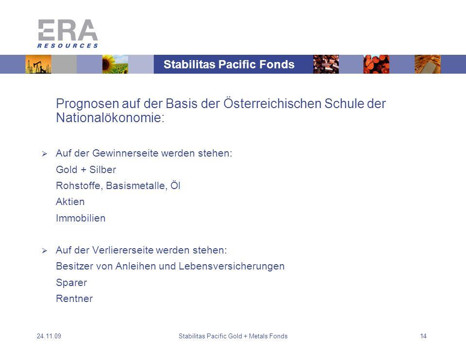 24.11.09Stabilitas Pacific Gold + Metals Fonds14 Prognosen auf der Basis der Österreichischen Schule der Nationalökonomie: Auf der Gewinnerseite werden stehen: Gold + Silber Rohstoffe, Basismetalle, Öl Aktien Immobilien Auf der Verliererseite werden stehen: Besitzer von Anleihen und Lebensversicherungen Sparer Rentner Stabilitas Pacific Fonds