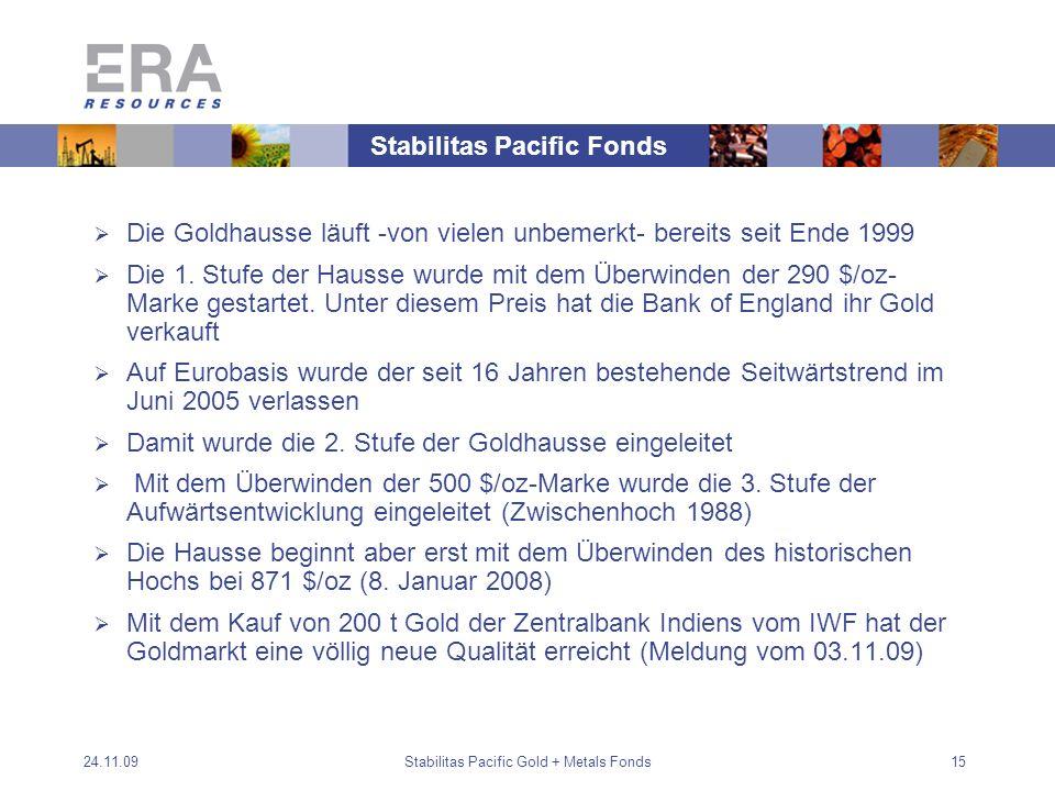 24.11.09Stabilitas Pacific Gold + Metals Fonds15 Die Goldhausse läuft -von vielen unbemerkt- bereits seit Ende 1999 Die 1.