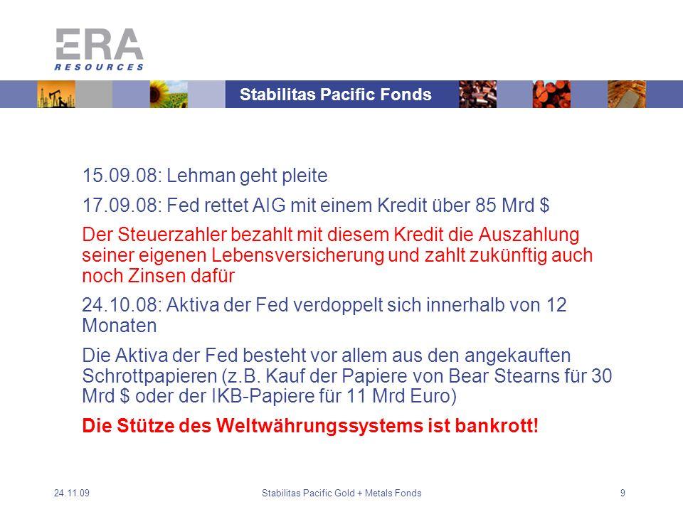 24.11.09Stabilitas Pacific Gold + Metals Fonds9 15.09.08: Lehman geht pleite 17.09.08: Fed rettet AIG mit einem Kredit über 85 Mrd $ Der Steuerzahler bezahlt mit diesem Kredit die Auszahlung seiner eigenen Lebensversicherung und zahlt zukünftig auch noch Zinsen dafür 24.10.08: Aktiva der Fed verdoppelt sich innerhalb von 12 Monaten Die Aktiva der Fed besteht vor allem aus den angekauften Schrottpapieren (z.B.