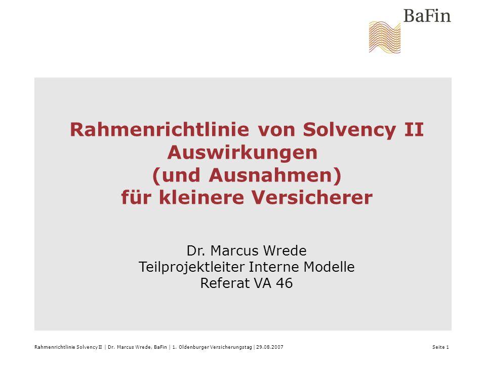 Vorwort 20.Juni 2007, Wasserwerk Bonn Rahmenrichtlinie Solvency II | Dr.