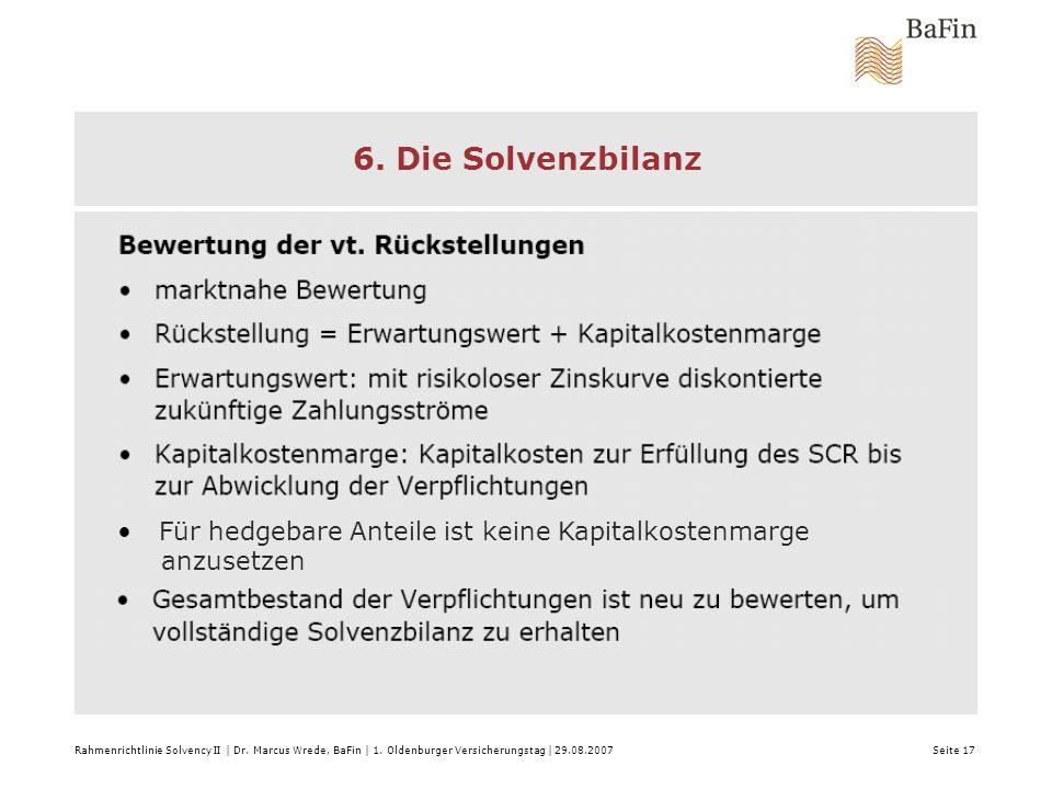 6. Die Solvenzbilanz Rahmenrichtlinie Solvency II | Dr. Marcus Wrede, BaFin | 1. Oldenburger Versicherungstag | 29.08.2007 Seite 17 Für hedgebare Ante