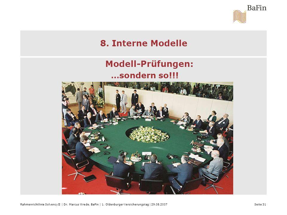 Rahmenrichtlinie Solvency II | Dr. Marcus Wrede, BaFin | 1. Oldenburger Versicherungstag | 29.08.2007 Seite 31 8. Interne Modelle Modell-Prüfungen: …s