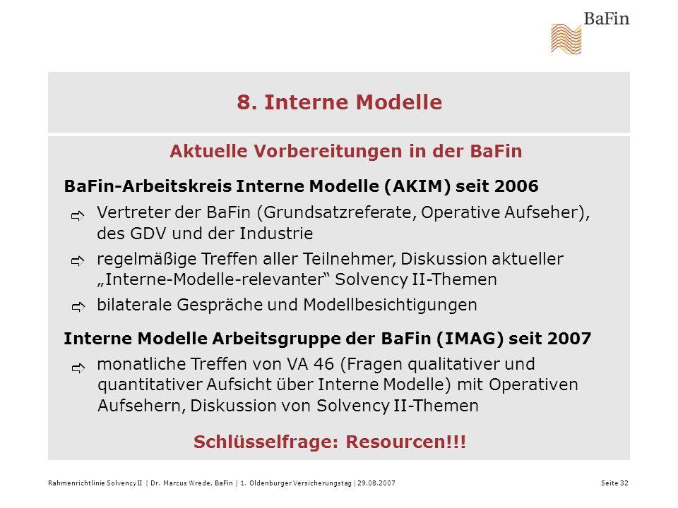 Rahmenrichtlinie Solvency II | Dr. Marcus Wrede, BaFin | 1. Oldenburger Versicherungstag | 29.08.2007 Seite 32 8. Interne Modelle Aktuelle Vorbereitun