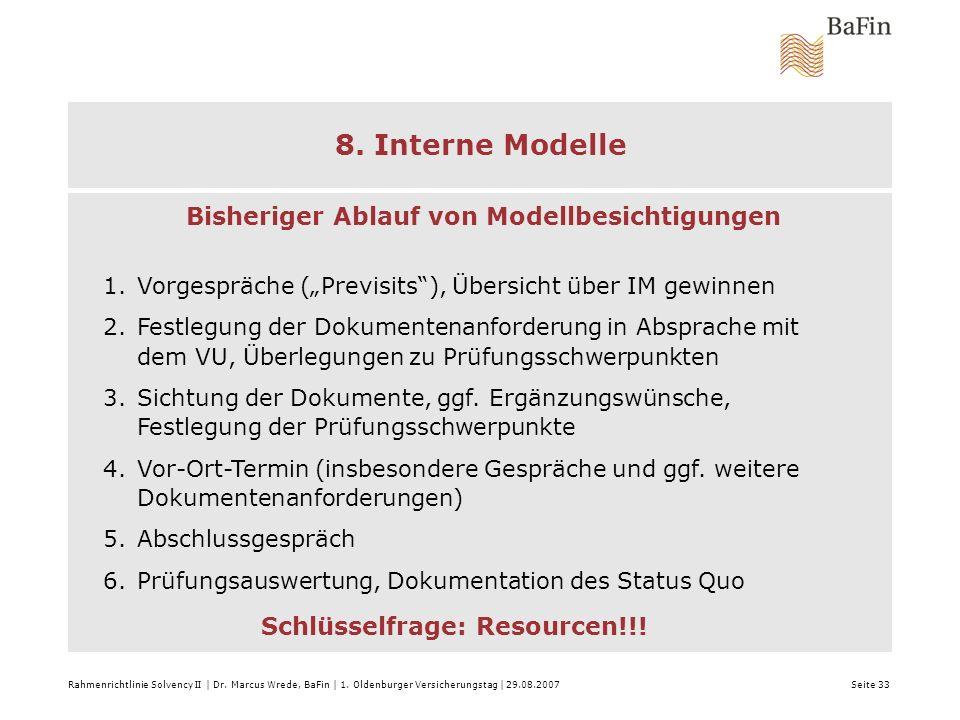 Rahmenrichtlinie Solvency II | Dr. Marcus Wrede, BaFin | 1. Oldenburger Versicherungstag | 29.08.2007 Seite 33 8. Interne Modelle Modell-Prüfungen: Bi