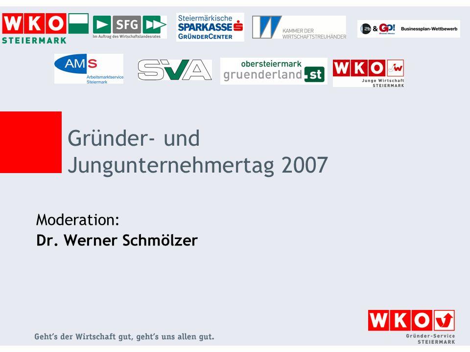 Moderation: Dr. Werner Schmölzer Gründer- und Jungunternehmertag 2007