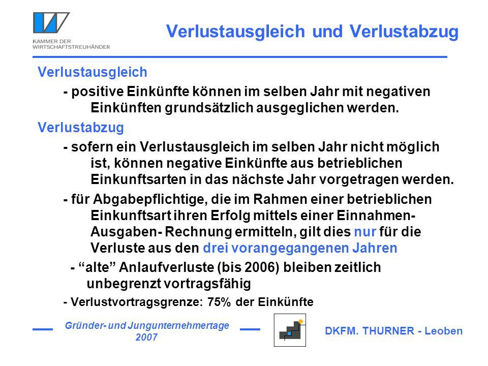 Gründer- und Jungunternehmertage 2007 DKFM. THURNER - Leoben Verlustausgleich und Verlustabzug Verlustausgleich - positive Einkünfte können im selben