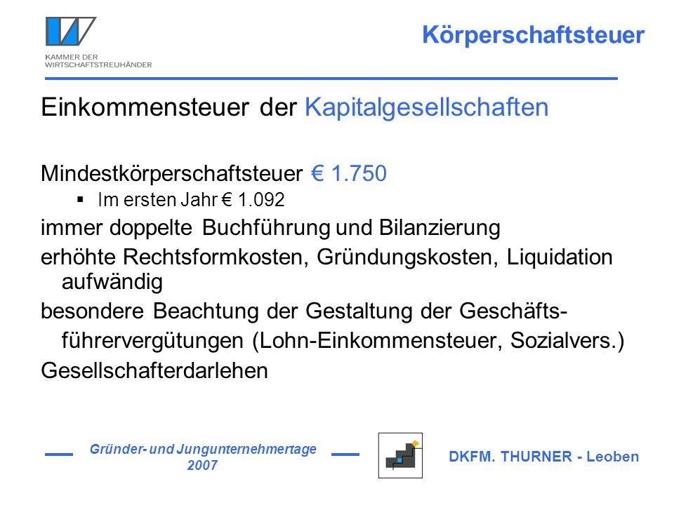 Gründer- und Jungunternehmertage 2007 DKFM. THURNER - Leoben Körperschaftsteuer Einkommensteuer der Kapitalgesellschaften Mindestkörperschaftsteuer 1.