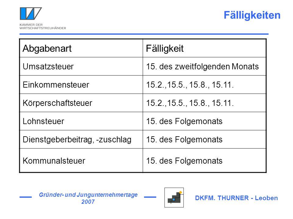 Gründer- und Jungunternehmertage 2007 DKFM. THURNER - Leoben Fälligkeiten AbgabenartFälligkeit Umsatzsteuer15. des zweitfolgenden Monats Einkommensteu