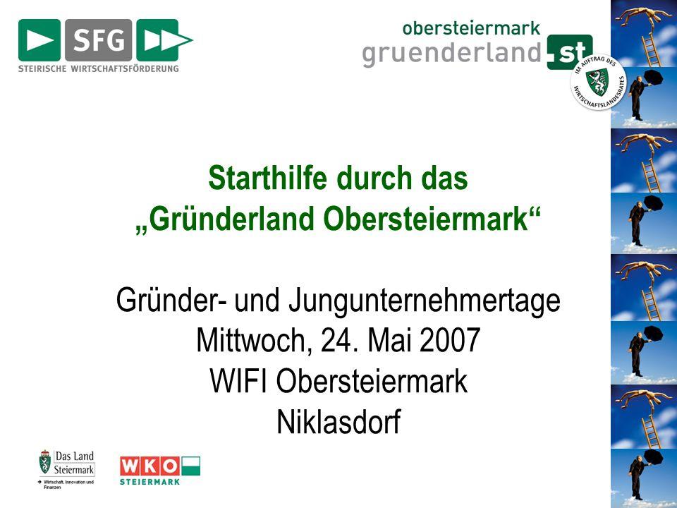 Starthilfe durch das Gründerland Obersteiermark Gründer- und Jungunternehmertage Mittwoch, 24. Mai 2007 WIFI Obersteiermark Niklasdorf