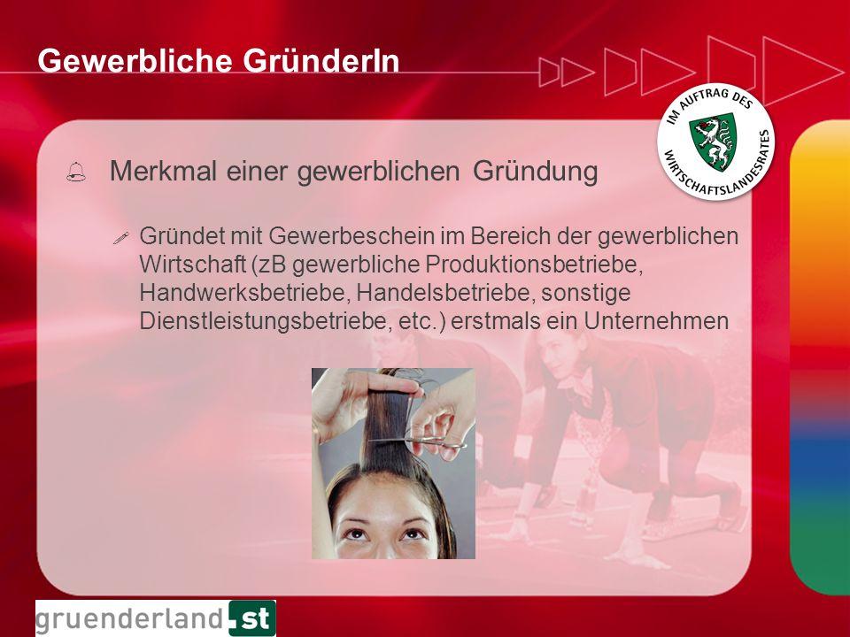 Gewerbliche GründerIn ! Gründet mit Gewerbeschein im Bereich der gewerblichen Wirtschaft (zB gewerbliche Produktionsbetriebe, Handwerksbetriebe, Hande