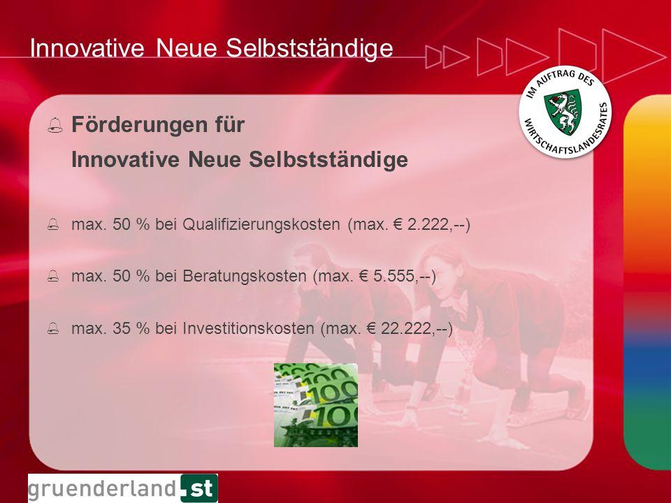 Innovative Neue Selbstständige % Förderungen für Innovative Neue Selbstständige % max. 50 % bei Qualifizierungskosten (max. 2.222,--) % max. 50 % bei