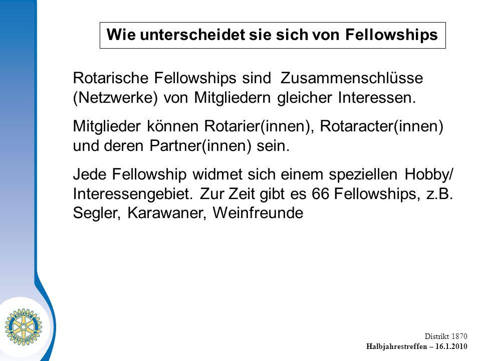 Distrikt 1870 Halbjahrestreffen – 16.1.2010 Rotarische Fellowships sind Zusammenschlüsse (Netzwerke) von Mitgliedern gleicher Interessen.