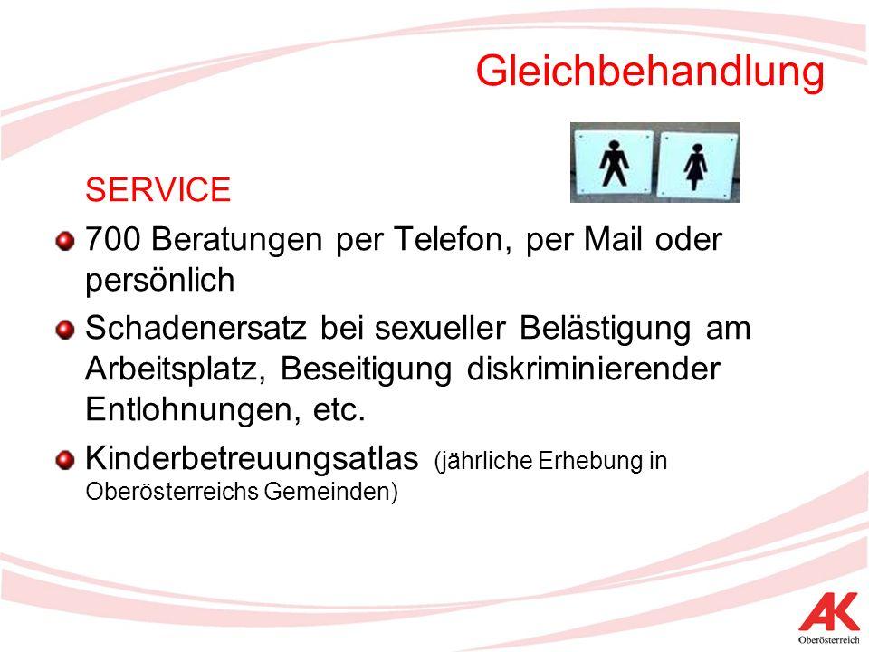 Gleichbehandlung SERVICE 700 Beratungen per Telefon, per Mail oder persönlich Schadenersatz bei sexueller Belästigung am Arbeitsplatz, Beseitigung diskriminierender Entlohnungen, etc.