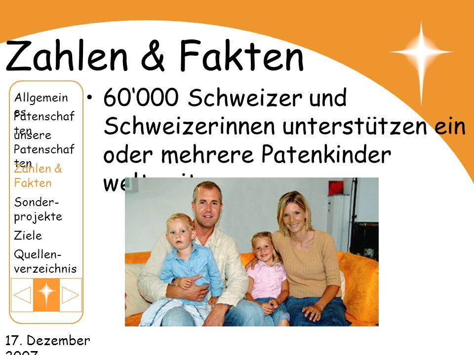 17. Dezember 2007 Zahlen & Fakten 60000 Schweizer und Schweizerinnen unterstützen ein oder mehrere Patenkinder weltweit unsere Patenschaf ten Patensch