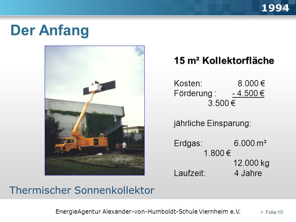 EnergieAgentur Alexander-von-Humboldt-Schule Viernheim e.V. Folie 10 Der Anfang 1994 Thermischer Sonnenkollektor 15 m² Kollektorfläche Kosten: 8.000 F