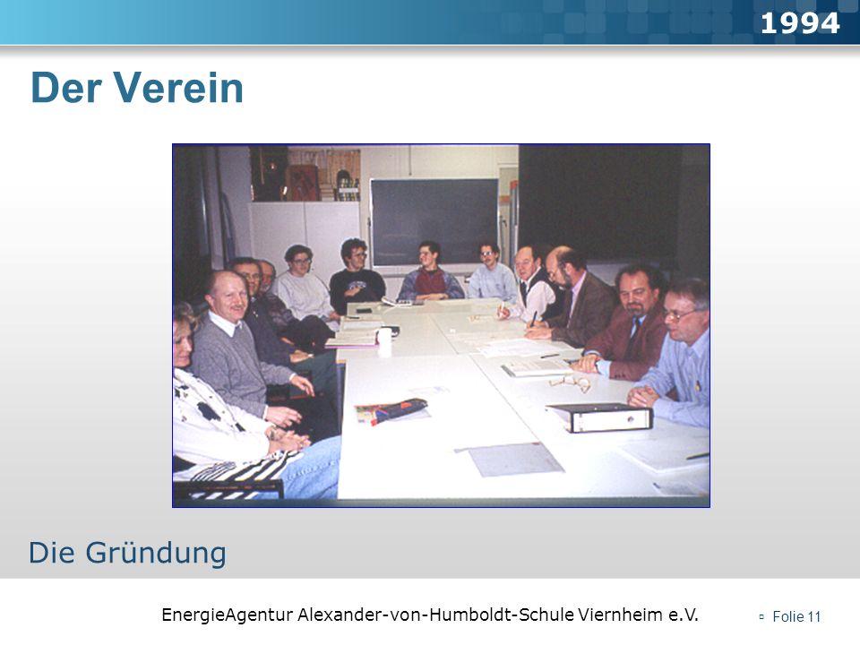 EnergieAgentur Alexander-von-Humboldt-Schule Viernheim e.V. Folie 11 Der Verein 1994 Die Gründung