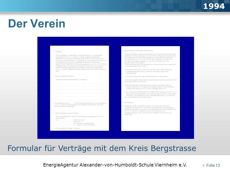 EnergieAgentur Alexander-von-Humboldt-Schule Viernheim e.V. Folie 13 Der Verein 1994 Formular für Verträge mit dem Kreis Bergstrasse