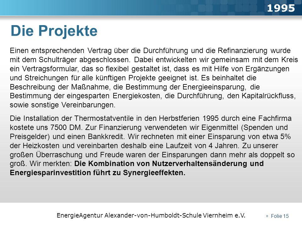 EnergieAgentur Alexander-von-Humboldt-Schule Viernheim e.V. Folie 15 Die Projekte 1995 Einen entsprechenden Vertrag über die Durchführung und die Refi