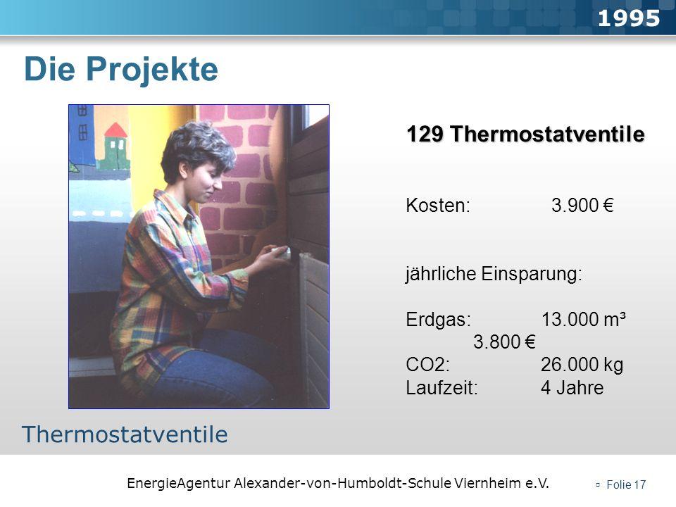 EnergieAgentur Alexander-von-Humboldt-Schule Viernheim e.V. Folie 17 Die Projekte 1995 Thermostatventile 129 Thermostatventile Kosten: 3.900 jährliche