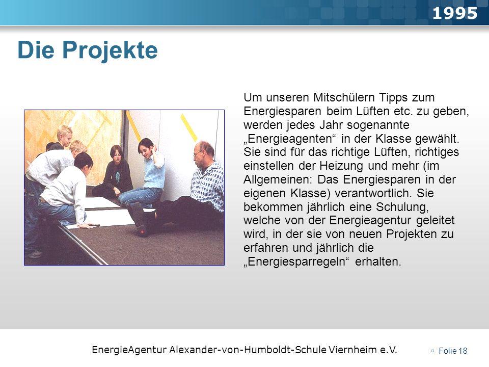 EnergieAgentur Alexander-von-Humboldt-Schule Viernheim e.V. Folie 18 Die Projekte 1995 Um unseren Mitschülern Tipps zum Energiesparen beim Lüften etc.