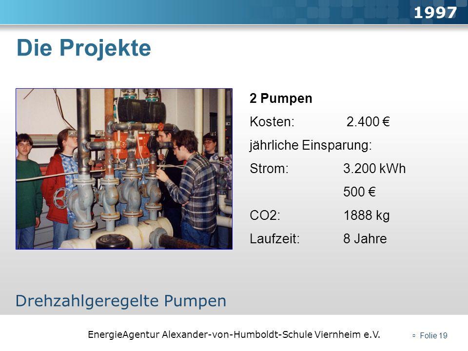 EnergieAgentur Alexander-von-Humboldt-Schule Viernheim e.V. Folie 19 Die Projekte 1997 Drehzahlgeregelte Pumpen 2 Pumpen Kosten: 2.400 jährliche Einsp