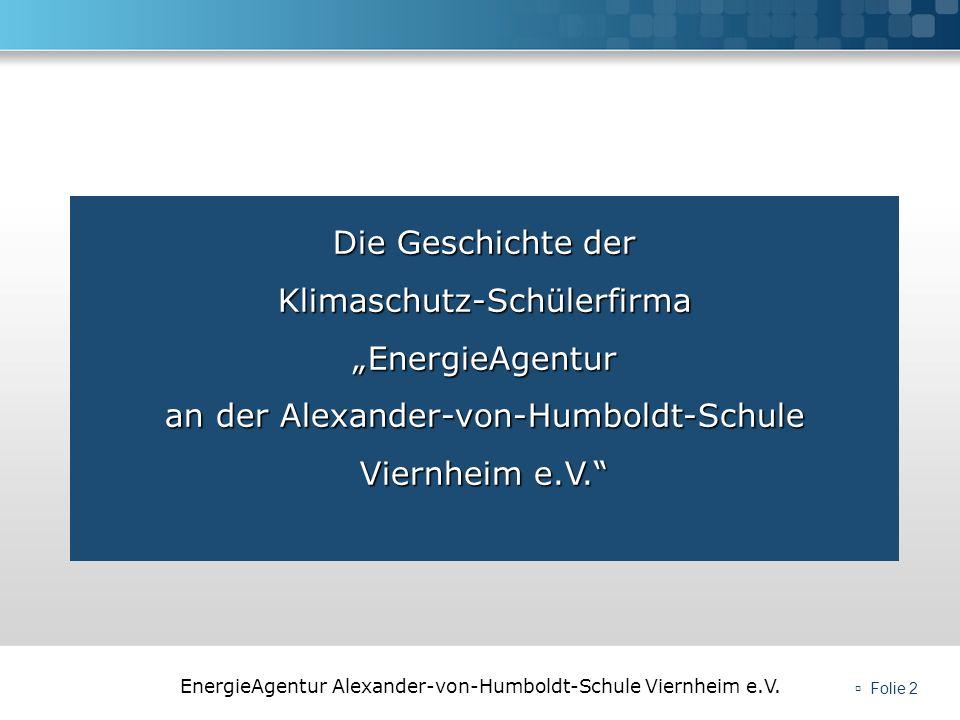 EnergieAgentur Alexander-von-Humboldt-Schule Viernheim e.V. Folie 2 Die Geschichte der Klimaschutz-Schülerfirma EnergieAgentur an der Alexander-von-Hu