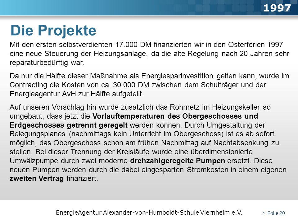 EnergieAgentur Alexander-von-Humboldt-Schule Viernheim e.V. Folie 20 Die Projekte 1997 Mit den ersten selbstverdienten 17.000 DM finanzierten wir in d