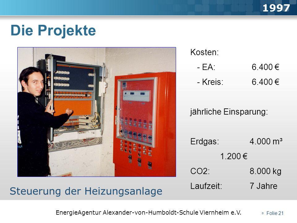 EnergieAgentur Alexander-von-Humboldt-Schule Viernheim e.V. Folie 21 Die Projekte 1997 Steuerung der Heizungsanlage Kosten: - EA: 6.400 - Kreis: 6.400