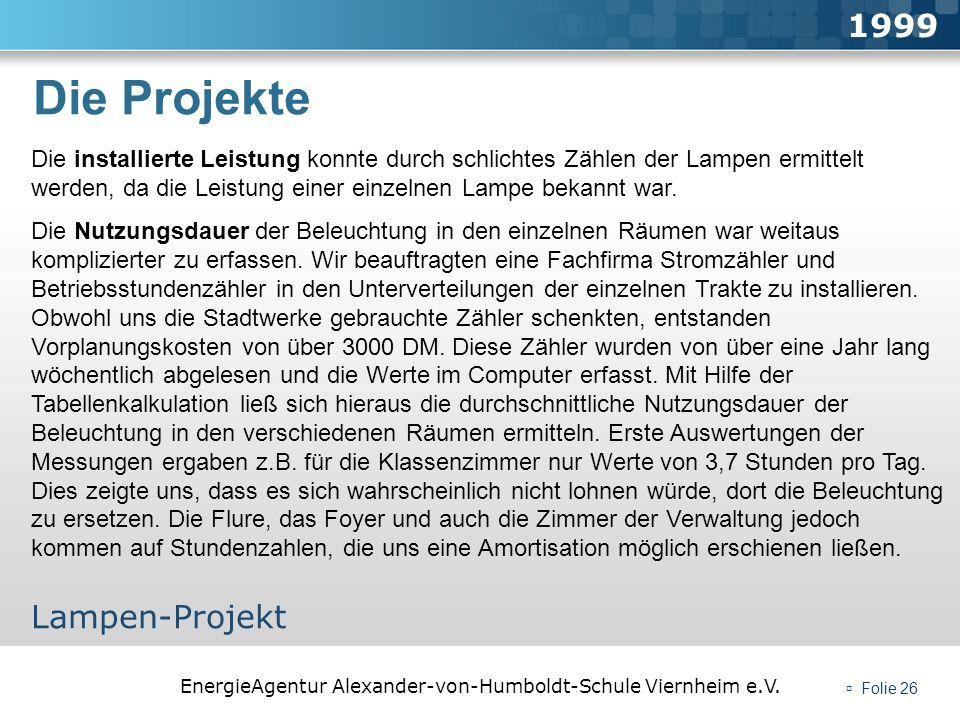 EnergieAgentur Alexander-von-Humboldt-Schule Viernheim e.V. Folie 26 Die Projekte 1999 Lampen-Projekt Die installierte Leistung konnte durch schlichte