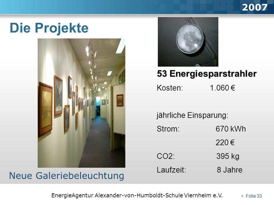 EnergieAgentur Alexander-von-Humboldt-Schule Viernheim e.V. Folie 33 Die Projekte 2007 Neue Galeriebeleuchtung 53 Energiesparstrahler Kosten: 1.060 jä