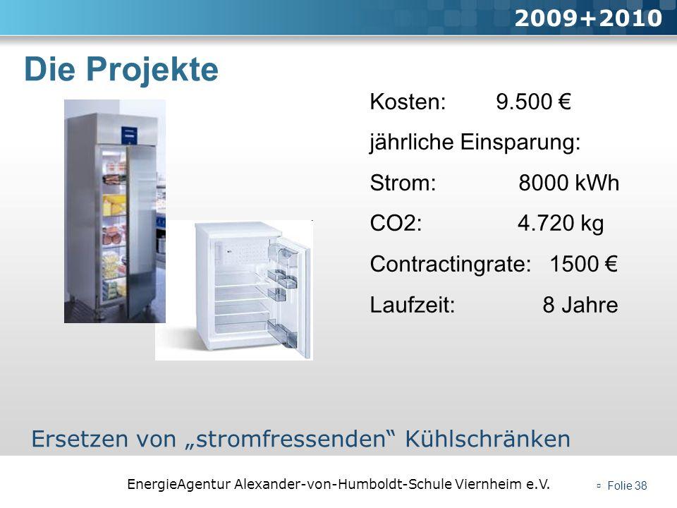 EnergieAgentur Alexander-von-Humboldt-Schule Viernheim e.V. Folie 38 Die Projekte 2009+2010 Ersetzen von stromfressenden Kühlschränken Kosten: 9.500 j