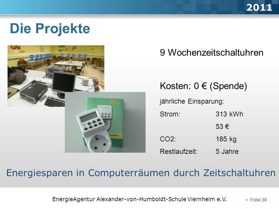 EnergieAgentur Alexander-von-Humboldt-Schule Viernheim e.V. Folie 39 Die Projekte 2011 Energiesparen in Computerräumen durch Zeitschaltuhren 9 Wochenz