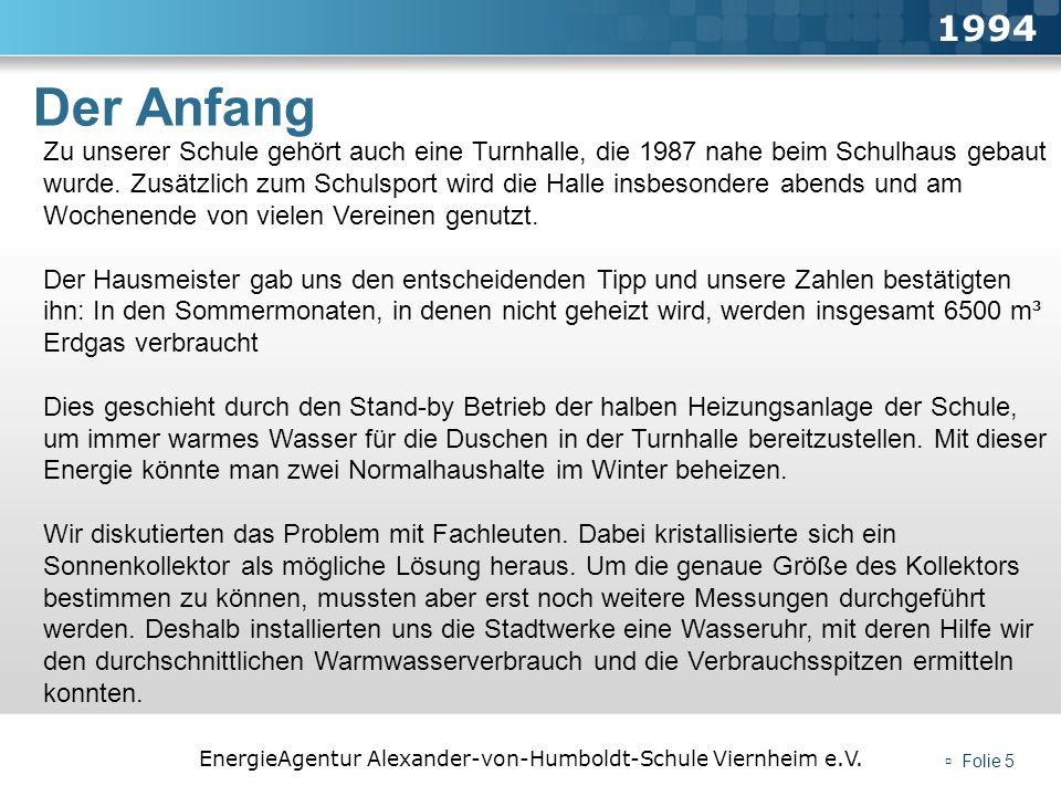 EnergieAgentur Alexander-von-Humboldt-Schule Viernheim e.V. Folie 5 Der Anfang 1994 Zu unserer Schule gehört auch eine Turnhalle, die 1987 nahe beim S