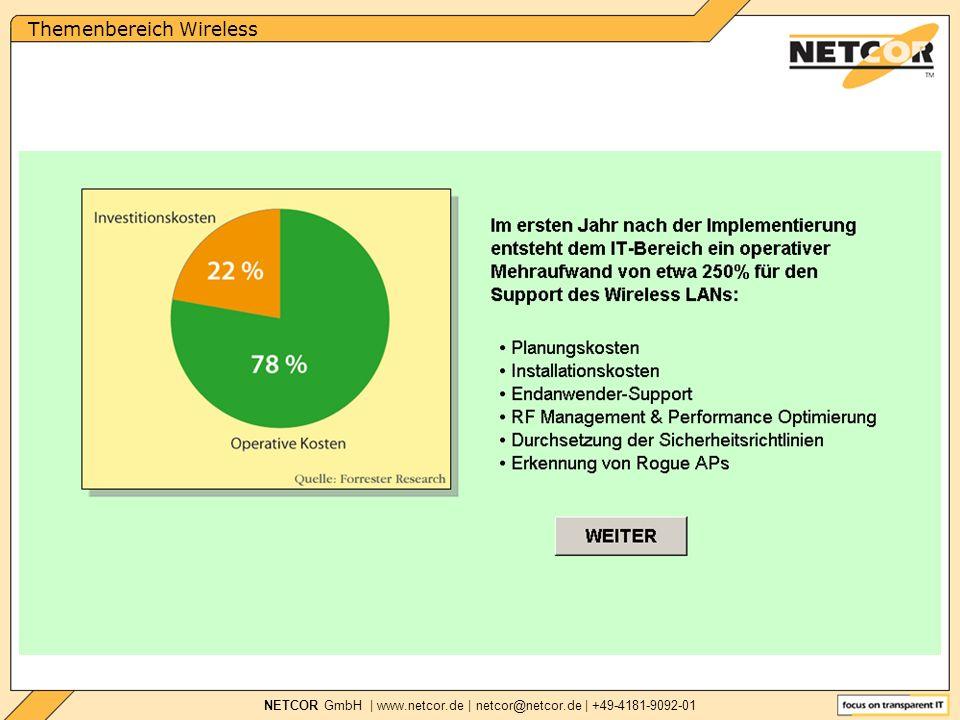 Themenbereich Wireless NETCOR GmbH   www.netcor.de   netcor@netcor.de   +49-4181-9092-01 Kriminelle räumen über WiFi-Netz Bankkonto leer In Finnland haben Kriminelle die Unachtsamkeit eines WiFi-Netzbetreibers ausgenutzt, um ein Bankkonto zu plündern und dabei ihre Spuren zu verschleiern WLAN Sicherheit »Zwei Drittel der Unternehmen schützen ihren Funkdatenverkehr gar nicht oder völlig unzureichend.« MICHAEL MÜLLER, INTEGRALIS »...Komplizen des Youngsters griffen dann von einem Laptop aus über einen ungeschützten WiFi-Netzzugang in Helsinkis Stadtteil Kallio auf das Konto zu und räumten es leer.
