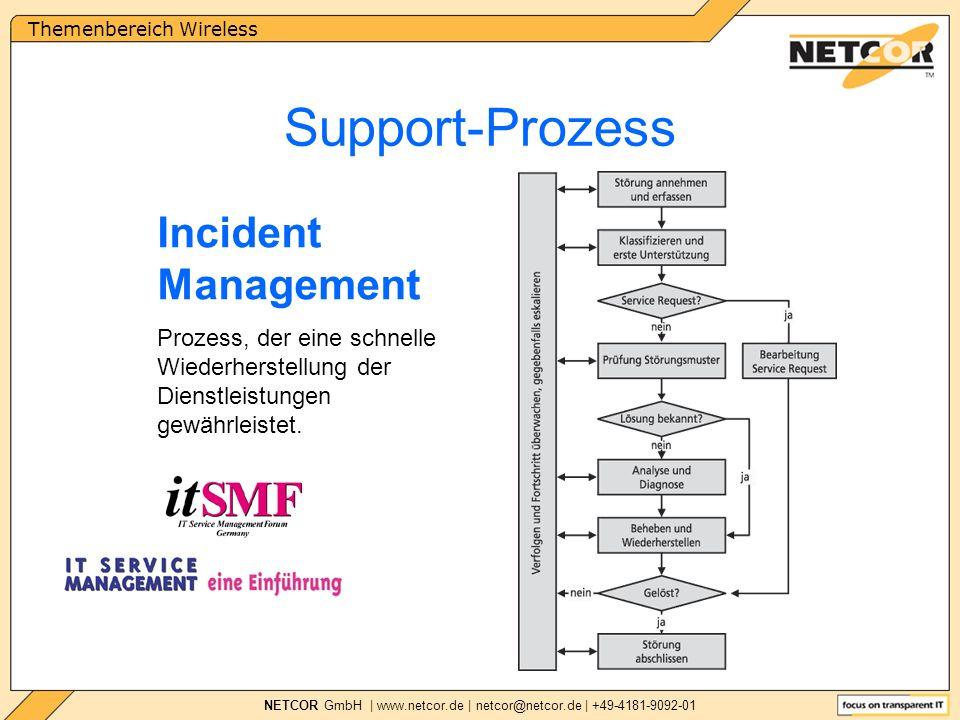 Themenbereich Wireless NETCOR GmbH | www.netcor.de | netcor@netcor.de | +49-4181-9092-01 Support-Prozess Incident Management Prozess, der eine schnelle Wiederherstellung der Dienstleistungen gewährleistet.