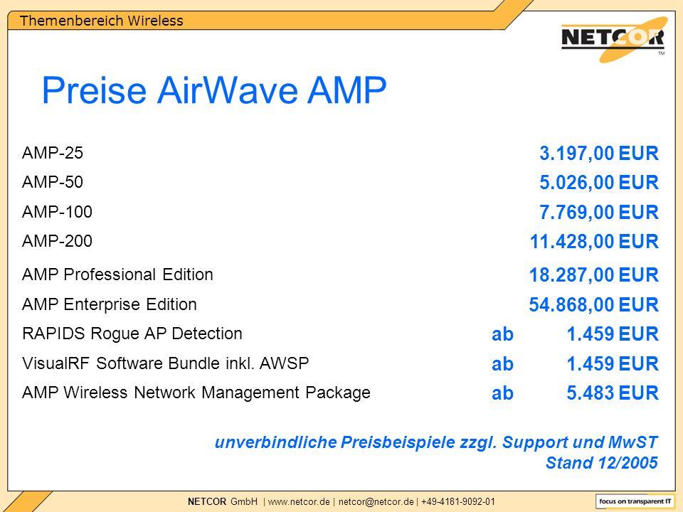 Themenbereich Wireless NETCOR GmbH | www.netcor.de | netcor@netcor.de | +49-4181-9092-01 Preise AirWave AMP unverbindliche Preisbeispiele zzgl.